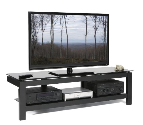 PLATEAU SL-2V 64 B BG Wood and Glass TV Stand, 64-Inch, Black Satin Paint Finish - Sl Series Accent Table