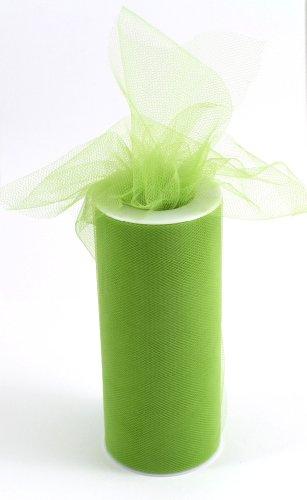 Kel-Toy Tulle Ribbon, 6-Inch by 25-Yard, Apple Green