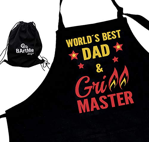Bartme Design - Dad BBQ Grill Master Apron - Father´s Birthday - 2 Pockets - Fully Adjustable - Wrapped in a Gift Backpack - Grilling Funny Attitude Aprons