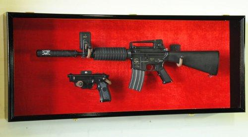 Guns: Rifle Handgun Display Case Wall Rack Cabinet w/ UV Protection -Lockable, Walnut