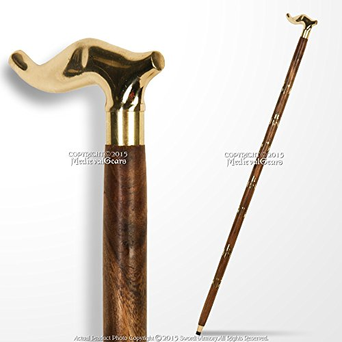 Medieval Gears Brand 36'' Handmade Sheesham Wood Walking Cane Stick with Brass Handle & Art Deco Shaft by Medieval Gears