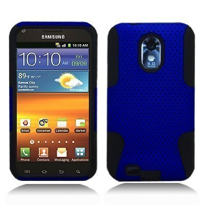 Blue Black APEX Gel Hard Case Cover For Samsung Galaxy S2 (Epic 4G Touch D710) - Cover For Samsung S2 Galaxy Gel