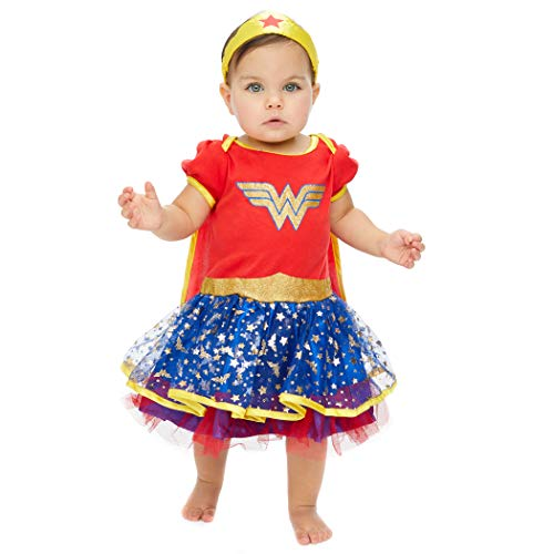 Toddlers And Tiaras Halloween Costume Dress (Wonder Woman Newborn Infant Baby Girls' Costume Bodysuit Dress with Gold Tiara Headband and Cape, Red (18)