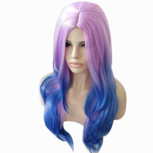 Blue Purple Lace Front Wigs Long Wavy Synthetic Wigs For Women Density Wigs (a) ()