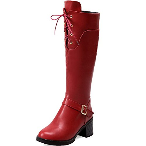 Allhqfashion Women's High-top Solid Zipper Round Closed Toe Kitten-Heels Boots Red