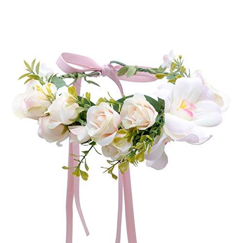 AWAYTR Bohemia Big Lilies Floral Crown Party Wedding Hair Wreaths Hair Bands Flower Headband (Floral Crown Diy)