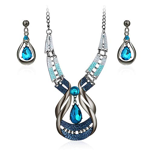 - Songlanbuy Rhinestone Jewelry Set, Shiny Water Drop Gemstone Necklace & Stud Earrings Chic Modern Art Crystal Drop Pendant Jewelry Set Brides Wedding Prom Necklace Set for Women or Girls Gift