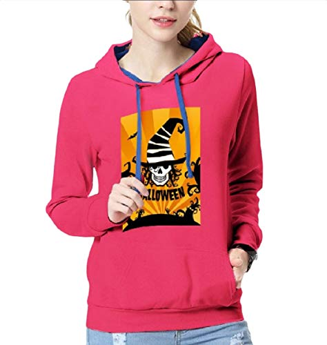 Yusky Womens Hood Graphic Print Halloween Party Trim-Fit Sweatshirts Rose Red M ()