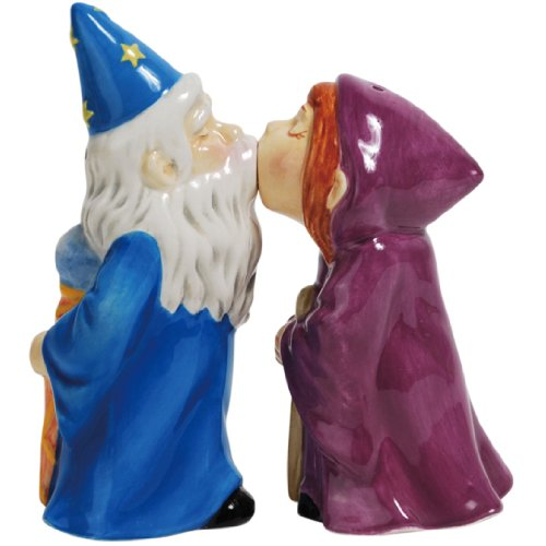 gnetic Ceramic Salt and Pepper Shaker Set, 4.25-Inch, Mwah Magical Wizards, Set of 2 ()