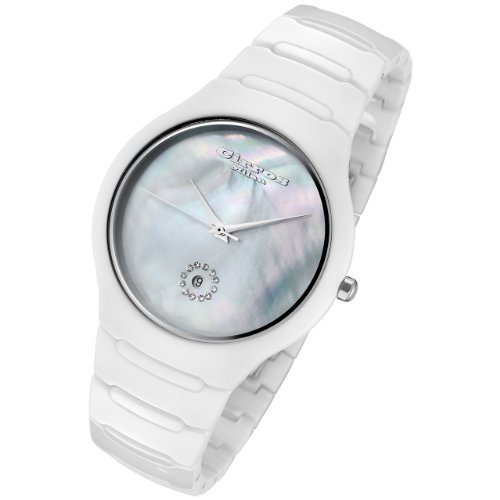 Cirros Milan Luxury Unisex White Ceramic Watch with Crystals