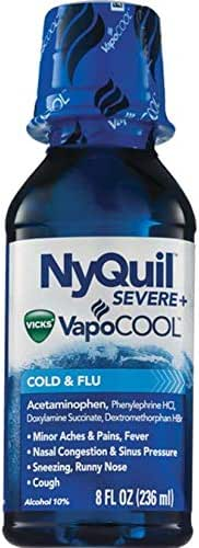 Expect More Vicks V NyQuil NyQuil SEVERE with Vicks VapoCOOL Cough, Cold & Flu Relief, 8 Fl Oz .Pack of 3.