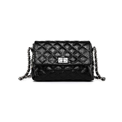 - Mishuo Women Designer Handbags Purses Flat Bag Metallic Chain Quilted Leather (Shiny Black)