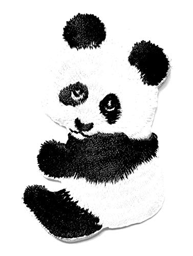 Panda Black & White Baby Bear Animal Zoo Wildlife Chinese Cartoon Children Kid Patch Clothes Bag T-Shirt Jeans Biker Badge Applique Iron on/Sew On Patch