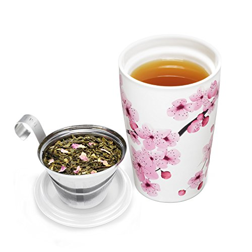 Tea Forté KATI Cup Ceramic Tea Brewing Cup with Infuser Basket and Lid for Steeping, Loose Leaf Tea Maker, Hanami by Tea Forte (Image #3)