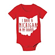 CP Clothing Michigan In My Diaper Funny Buckeyes State of Ohio Football Baby One Piece 6 Months Red