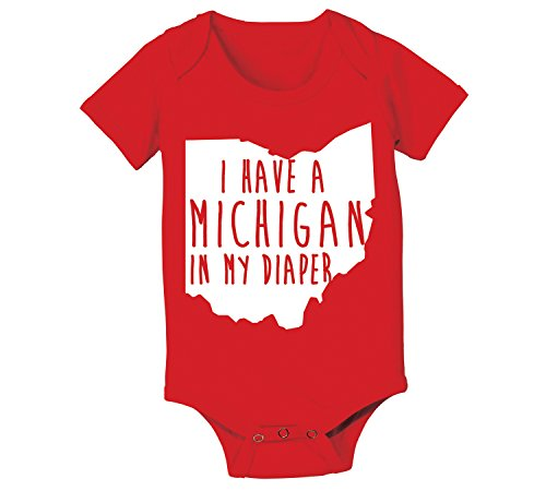 Michigan In My Diaper Funny Buckeyes State of Ohio Football Baby One Piece 6 Months - Outlets Shopping Michigan