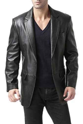 (BGSD Men's Richard Classic 2-Button Lambskin Leather Blazer,Black,Medium Short)