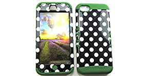 SHOCKPROOF HYBRID CELL PHONE COVER PROTECTOR FACEPLATE HARD CASE AND DARK GREEN SKIN WITH STYLUS PEN. KOOL KASE ROCKER FOR APPLE IPHONE 5C POLKA DOTS WHITE BLACK DG-TP1632