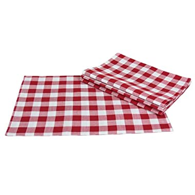 Xia Home Fashions Gingham Check Placemats, 13 by 19-Inch, Red, Set of 4