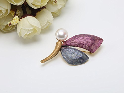 JYX Gorgeous 12mm White Freshwater Pearl Brooch Butterfly Pin