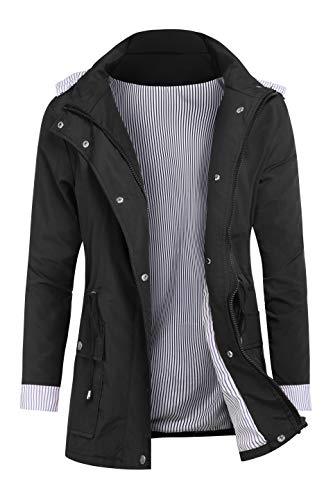 RAGEMALL Women's Raincoats Windbreaker Rain Jacket Waterproof Lightweight Outdoor Hooded Trench Coats Black m