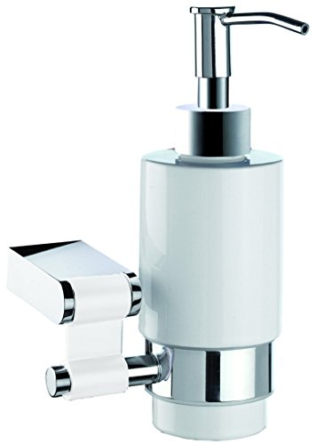 Iris Wall Soap Dispenser, Brass Polished Chrome & White Ceramic Bottle, Wall Mounted, Bathroom Accessories, Made in Spain (European Brand) by Hispania bath