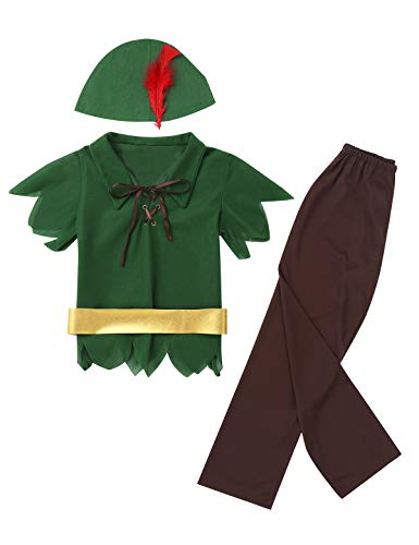 Agoky Kids Baby Boys Peter-Pan/Robin-Hood Fancy Dress Halloween Fairy Cosplay Theme Party Costume Outfit Hat Belt Green&Brown -