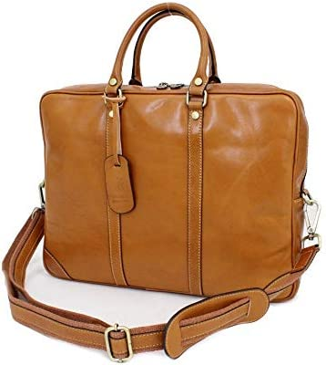 イタリア製カーフ1枚革(本革) バケッタ革 ユニセックス/メンズ アタッシュ PCケース ビジネスバッグ