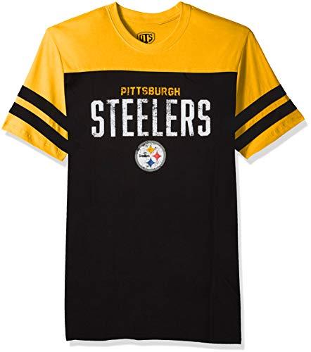 NFL Pittsburgh Steelers Men's OTS Cotton Yoke Stripe Tee, Washington, Large