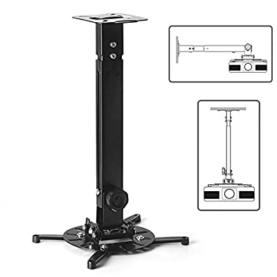 TNP Universal Projector Mount Drop Ceiling / Wall - LCD/DLP Video Projection Mount Bracket Holder Plate with Telescoping Arm Extension Pole, Tilt & Swivel Adjustable Bracket