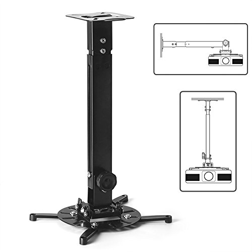 TNP Universal Projector Mount Drop Ceiling / Wall - LCD/DLP Video Projection Mount Bracket Holder Plate with Telescoping Arm Extension Pole, Tilt & Swivel Adjustable Bracket (Black)