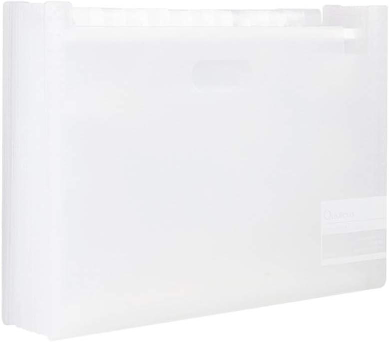 Color : White Folder Office File Multi-Layer Accordion Bag Storage Box Sorting Bag Multi-Function Book Clip File File