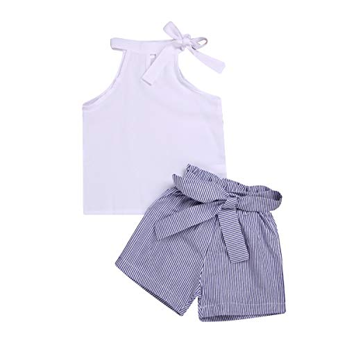 Toddler Baby Girl Sleeveless White Tank Top Shirts+Gray Stripe Shorts Pant with Bow Belt+Headband Summer Clothes Set 1-6T (White, 2-3 Years)]()