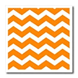 """3dRose HT_179678_3 Bold Orange and White Zig Zag Chevron Pattern-Bright Zigzags-Iron on Heat Transfer Paper for White Material, 10 by 10-"""""""