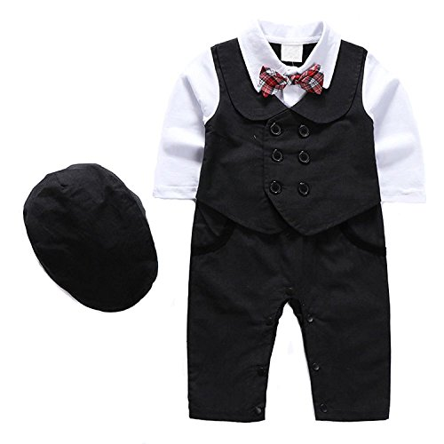 (1Pcs Baby Boy Long Sleeves Jumpsuit Tuxedo Clothing Set With Berets Cap and)