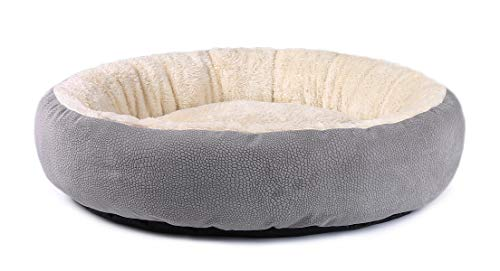 JEMA Cat Bed Donut Cuddler - Small Medium Dog Bed Fluffy Indoor Round Cat and Dog Cushion Bed, Orthopedic Relief, Self-Warming, Non-Slip Bottom
