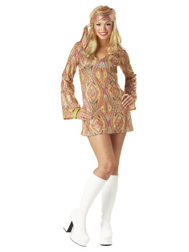 Adult Disco Dolly - California Costumes Womens Disco Dolly Costume Dress With Head Wrap M (8-10)