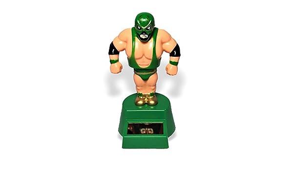 Lucha Libre Mexican Wrestler Bobblehead Toy Solar Power GREEN BLUE RED 3