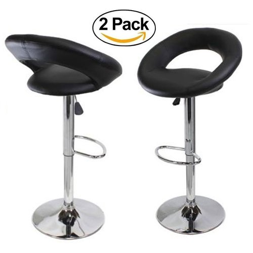 FCH Set of 2 PU Leather Barstools Height Adjustable from 21 1/2-30 360°Swivel Bar Stools with Large Paded Seat/Backrest/Armrest/Footrest for Kitchen, Home, Office - Chair Counter Height Long Island