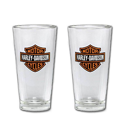 (2-Pack) Harley-Davidson Bar & Shield Logo Pint Glass 16 oz, Barware Glassware 99307-13V Clear
