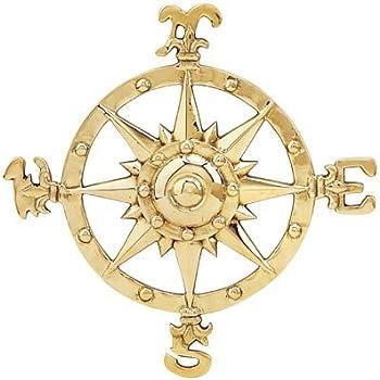 Amazon.com: Small Brass Compass Rose Nautical Wall Plaque: Home ...