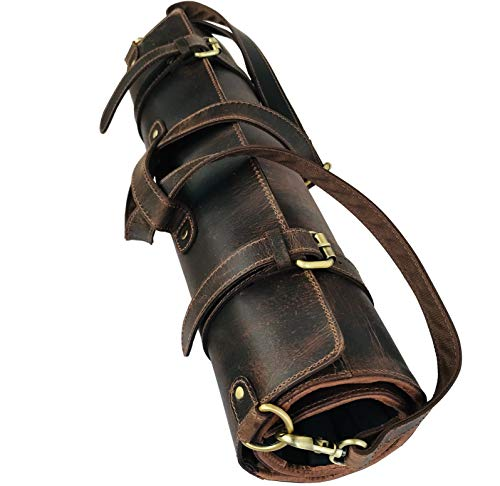 Leather Knife Roll Storage Bag | Elastic and Expandable 10 Pockets | Adjustable/Detachable Shoulder Strap | Travel-Friendly Chef Knife Case Roll By Aaron ()