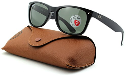 Ray-Ban RB2132 New Wayfarer Polarized Unisex Sunglasses (Black Frame/Crystal Green Polarized 901/58, - 58 Rb2132 901 Wayfarer New