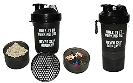 FITCLUB Non-Toxic PP BPA-Free Protein Shaker Bottle with Dual Mixing  Technology and Grids (21 Oz, Grey)