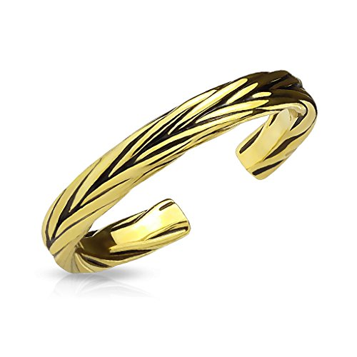 FifthCue Double Braided Adjustable Rhodium Plated Brass Finger Mid-Ring or Toe Ring (Gold) ()