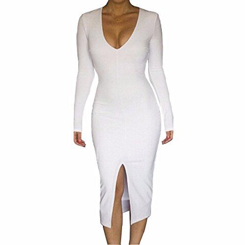Qiyun 3008S0611 - Vestido para mujer Blanco