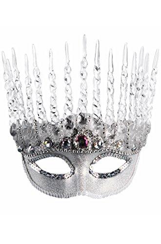 Forum Novelties Unisex-Adults Half Mask-Ice Queen, Silver, (Ice Queen Costume Accessories)