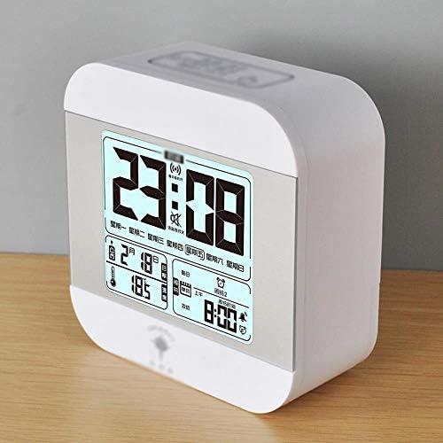 Creative Luminous Alarm Clock Mute Snooze Alarm Clock, white