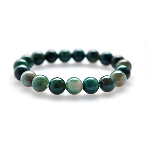 (Candyfancy 10mm Natural Moss Agate Semi Precious Stone Elastic Beaded Bracelet for 6-7.4 Inch Wrist Men)