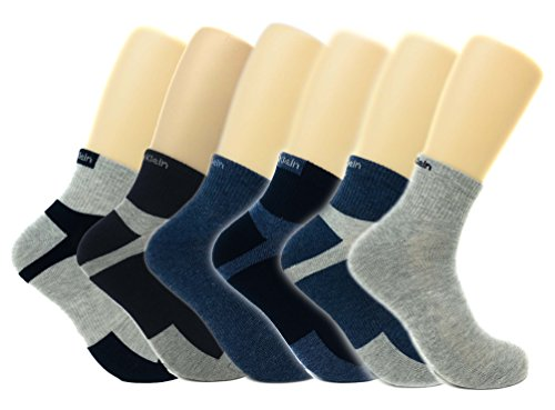 Calvin Klein Men's Basic Sport Quarter Socks - 6 Pack (OS (7-12), Navy/Grey/Denim Blue)